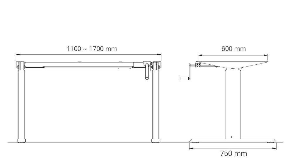 schreibtisch gestell 140hc h henverstellbar mit handkurbel alu. Black Bedroom Furniture Sets. Home Design Ideas