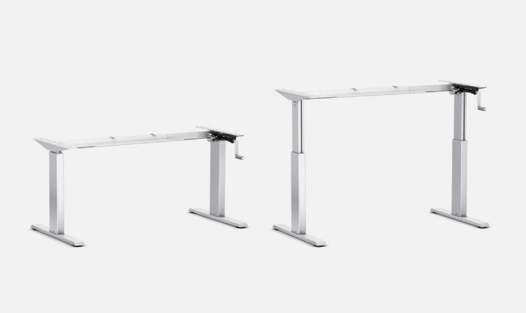 Schreibtisch gestell 140hc h henverstellbar mit handkurbel alu for Schreibtisch 2 50 meter